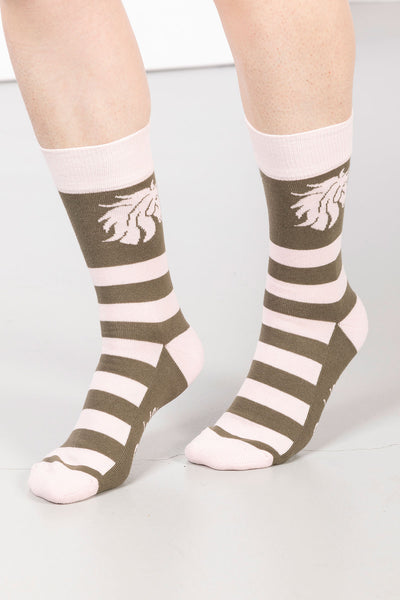 Khaki - Ladies Horses Head Ankle Socks