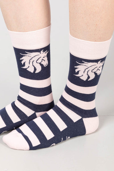 Navy/Sorbet - Ladies Horses Head Ankle Socks