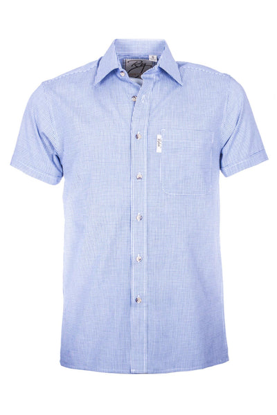 Ilkley Blue/White - Mens Short Sleeve Shirt