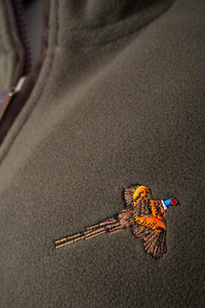 Olive Pheasant - Embroidered Mens Game Fleece Jacket