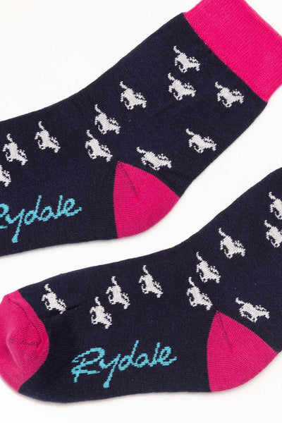 Galloping Horse/Navy - Junior Ankle Socks