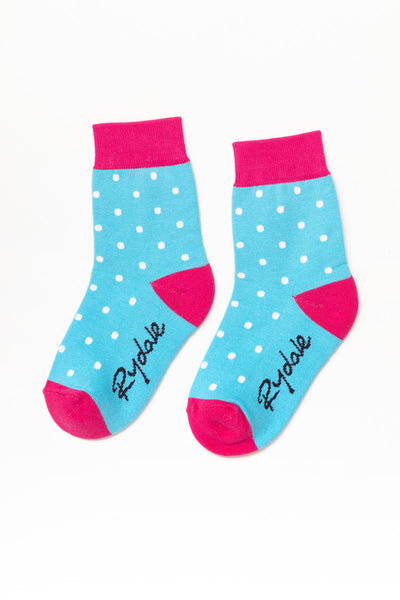 Polka Dot/Sky - Junior Ankle Socks