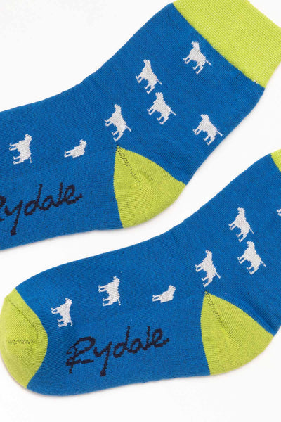 Wagging Dog/Blue - Junior Ankle Socks