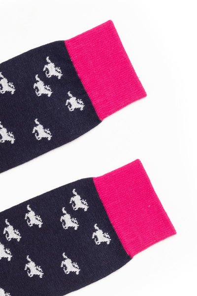 Galloping Horse/Navy - Junior Knee Socks