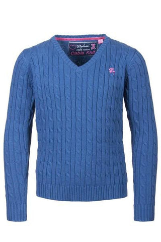 Junior Cable Knit V Neck Sweater