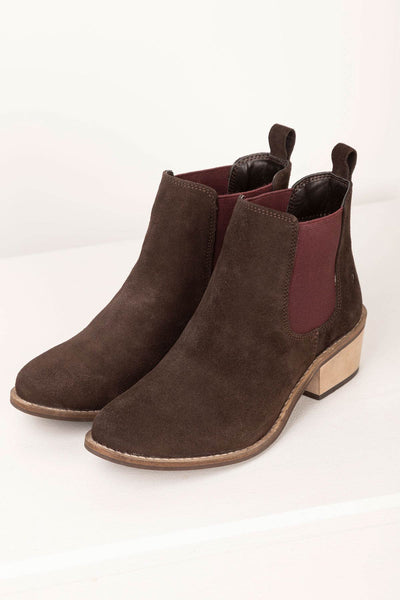 Brown/Plum - Kirby II Heeled Suede Chelsea Boots