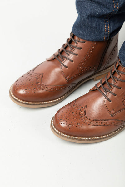 Brown - Ladies Lace Up Brogue Boots - Kirby