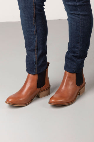 Cognac - Kirby II Heeled Leather Chelsea Boots