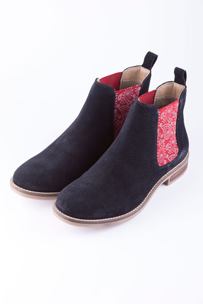 Navy/Paisley - Ladies Kirby Suede Boots
