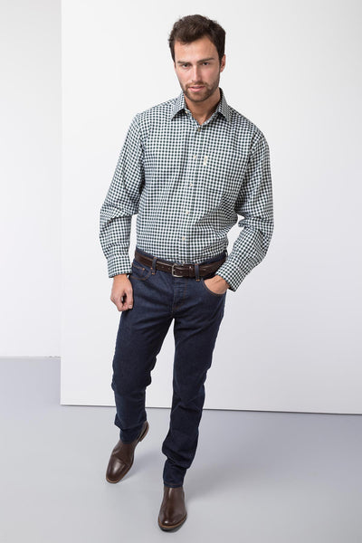 Green Gingham - Mens 100% Cotton Long Sleeved Shirts