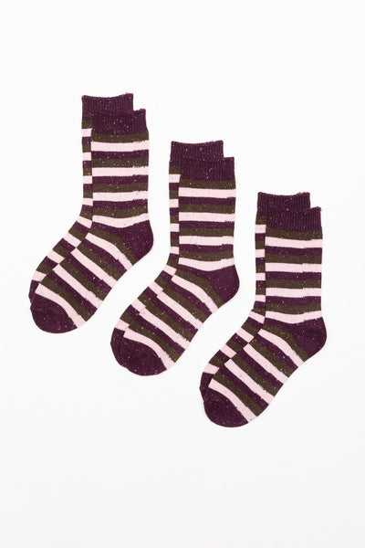 Berry - Ladies 3 Pack Striped Boot Socks