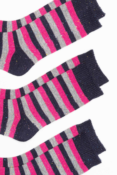 Navy - Ladies 3 Pack Striped Boot Socks