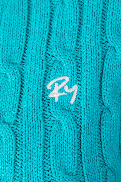 Deep Aqua - 2017 V Neck Cable Knit Sweater