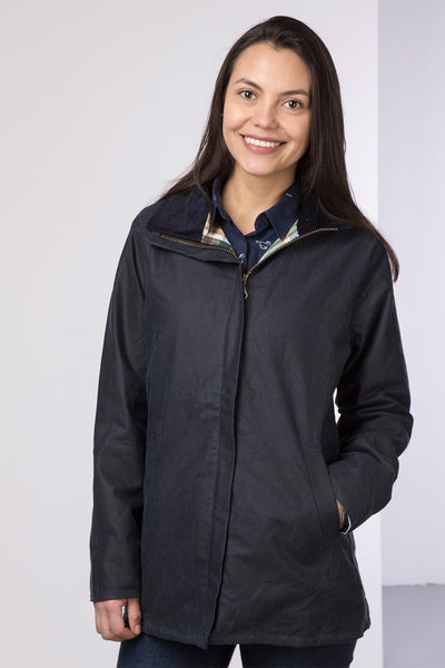 Navy - Ladies Cawood Wax Jacket