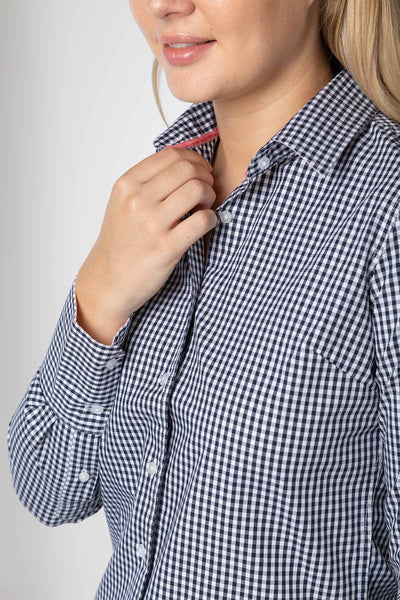 Navy - Ladies Emily Checked Classic Shirt