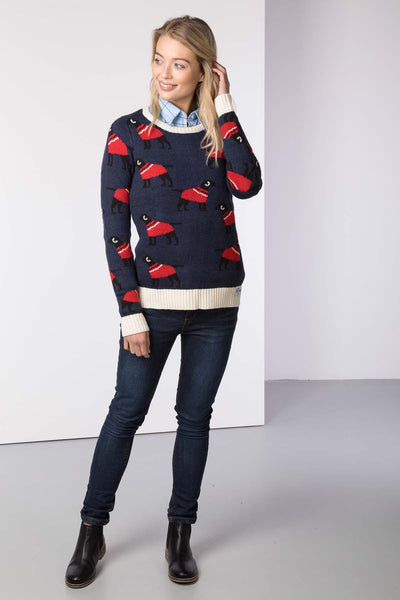 Navy - Ladies Christmas Sweater