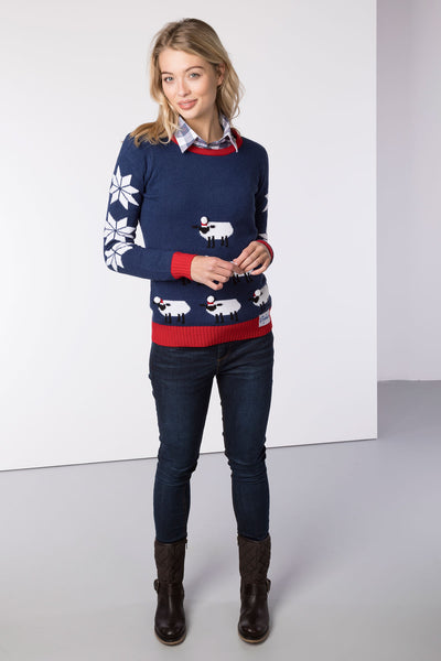 Sheep Stack Navy - Ladies Christmas Sweater