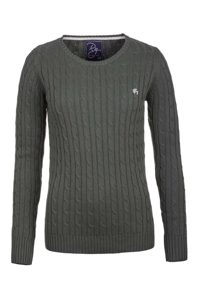 Sage - Ladies Crew Neck Cable Knit Sweater