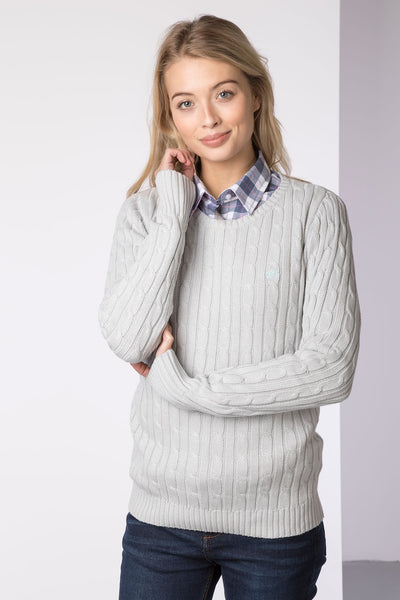 Silver - Ladies Crew Neck Cable Knit Sweater