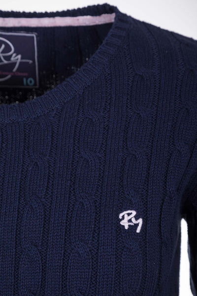 Navy - Ladies Crew Neck Cable Knit Sweater