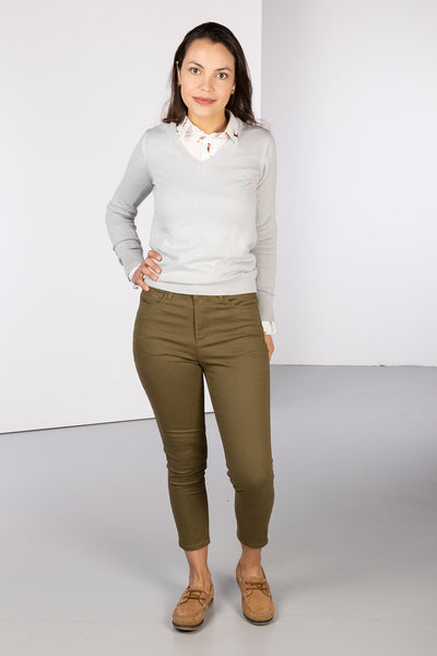 Khaki - Ladies Cropped Jeans - Ella
