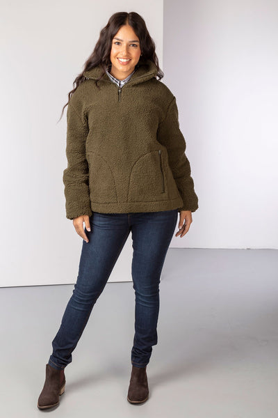 Khaki - Ladies Etton Overhead Sherpa Fleece