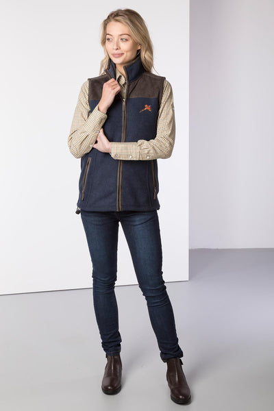 Ink - Ladies Garton II Fleece Gilet Pheasant Motif