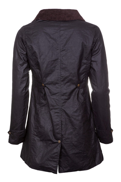 Black - Ladies Long Wax Coat Jacket - Hannah