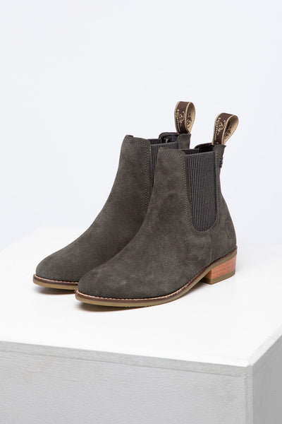 Grey - Ladies Heeled Suede Chelsea Boots - Rievaulx