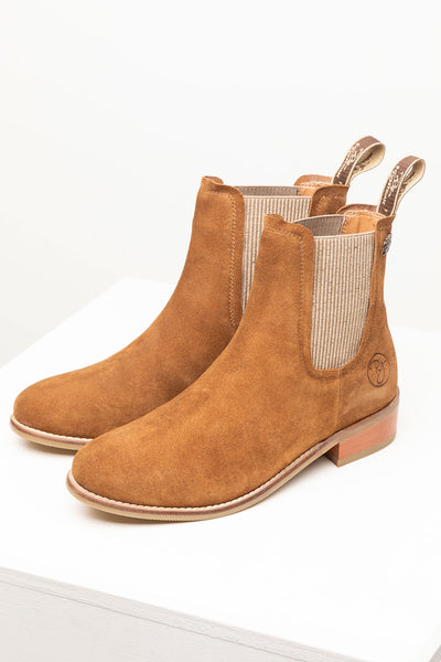 Tan - Ladies Heeled Suede Chelsea Boots - Rievaulx