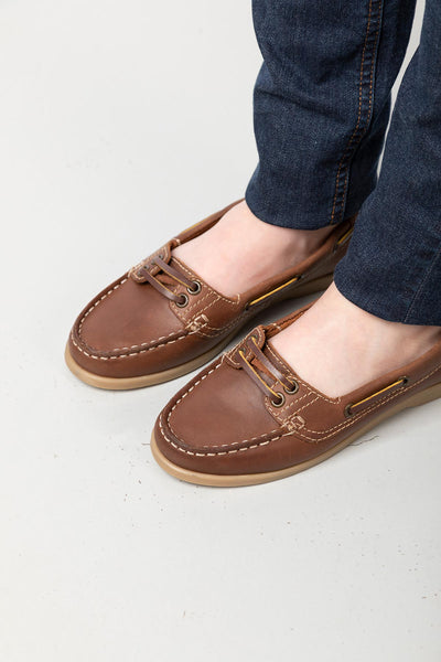 Brown - Ladies Low Front Shoes - Cayton
