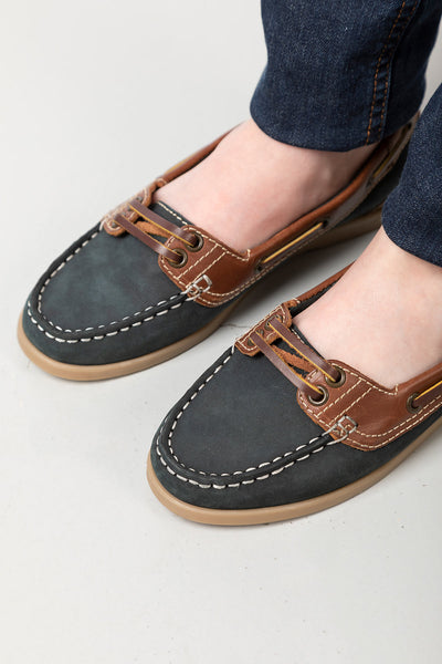 Navy/Brown - Ladies Low Front Shoes - Cayton