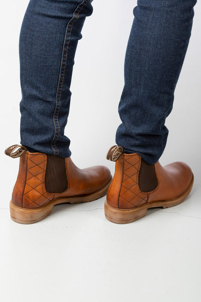 Tan - Ladies Pull On Chelsea Boots - Skelton