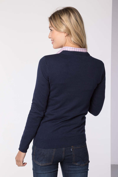 Navy - Ladies Round Neck Sweater