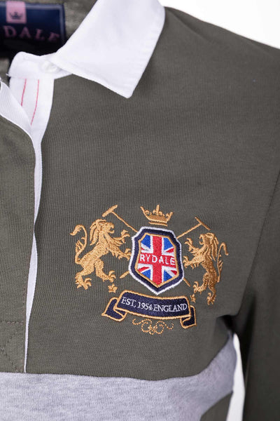 Khaki - Ladies Rugby Shirt - Cropton 2 Stripe
