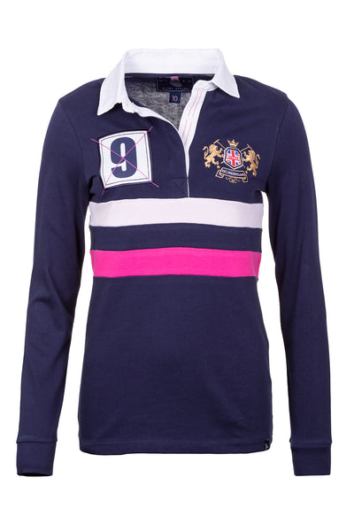Navy - Ladies Rugby Shirt - Cropton 2 Stripe