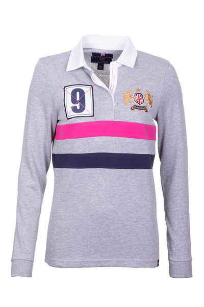 Marl Grey - Ladies Rugby Shirt - Cropton 2 Stripe