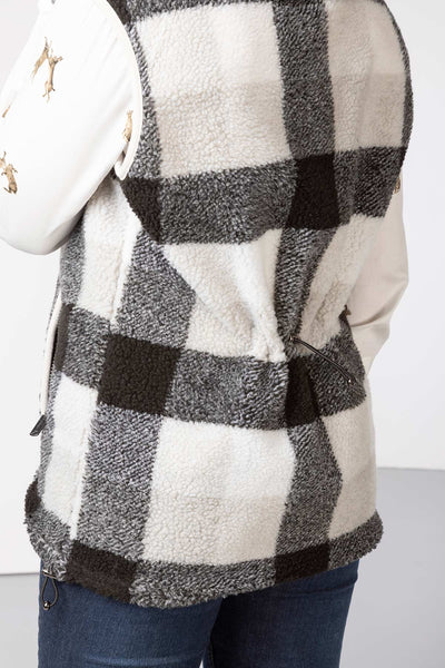 Black - Ladies Fimber Sherpa Fleece Checked Gilet