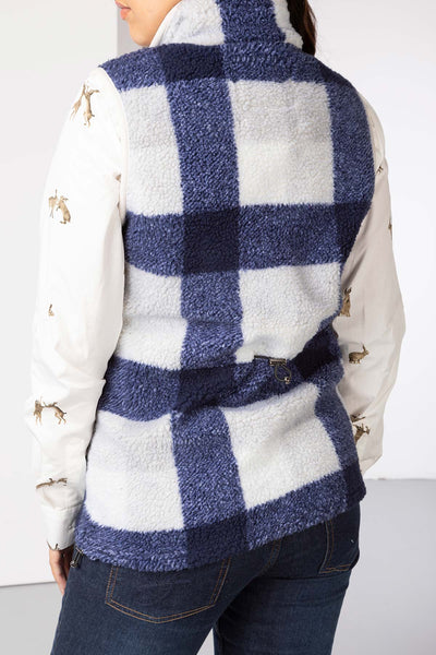 Navy - Ladies Fimber Sherpa Fleece Checked Gilet