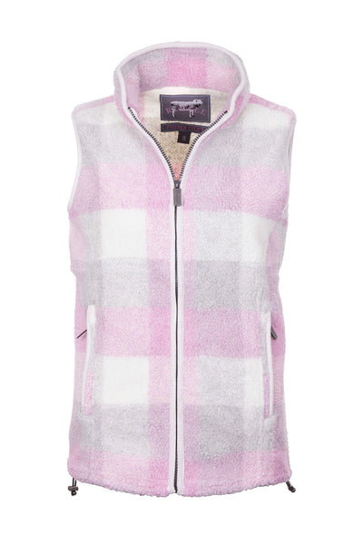 Sorbet - Ladies Fimber Sherpa Fleece Checked Gilet