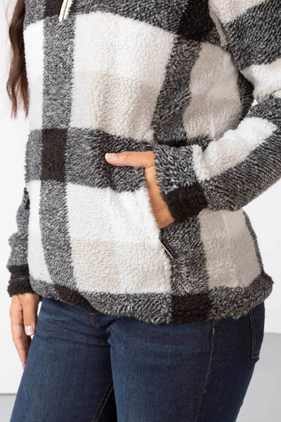 Black - Ladies Fimber Sherpa Fleece Checked Jumper