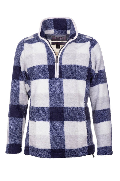 Navy - Ladies Fimber Sherpa Fleece Checked Jumper