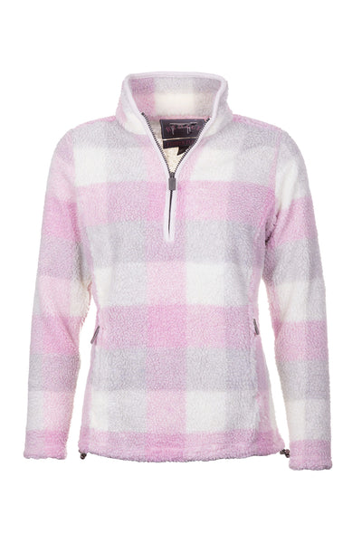Sorbet - Ladies Fimber Sherpa Fleece Checked Jumper