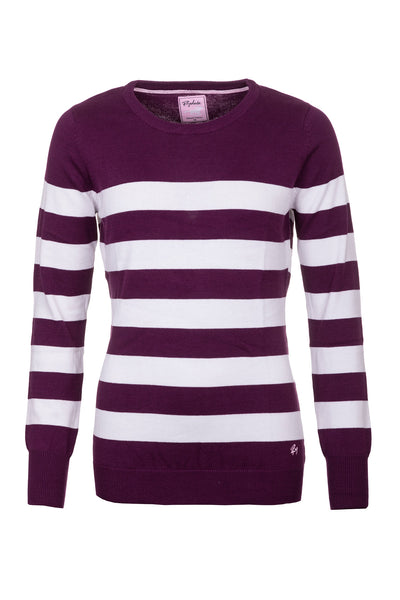 Berry/White - Ladies Striped Crew Neck Jumper