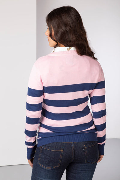 Denim/Sorbet - Ladies Striped Crew Neck Jumper
