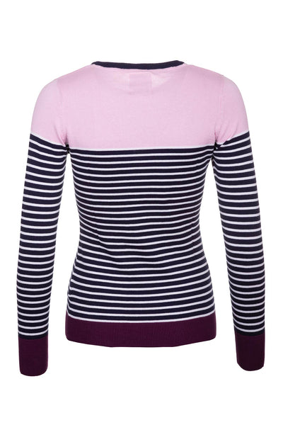 Navy/White - Ladies Striped Crew Neck Jumper