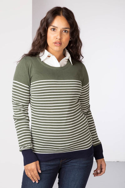 Sage/White - Ladies Striped Crew Neck Jumper