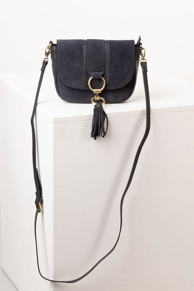 Navy - Ladies Allerton Suede Mini Cross Body Bag