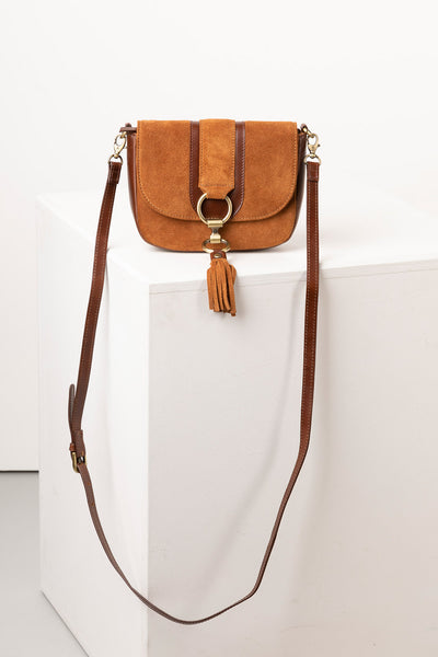 Tan - Ladies Allerton Suede Mini Cross Body Bag