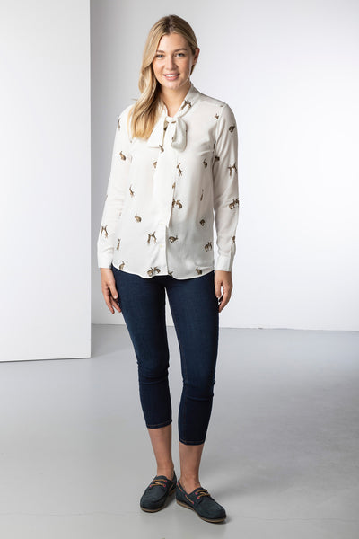 Hare White - Ladies Tie Neck Blouse